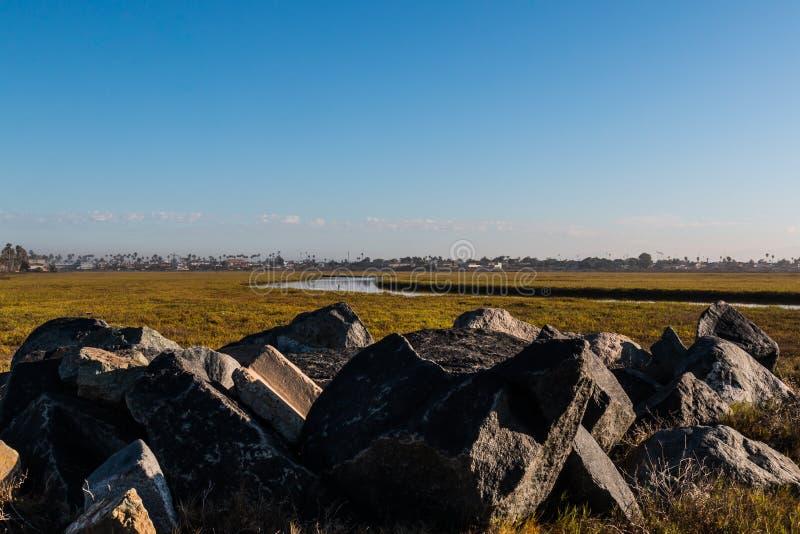 在岩石的早晨光在港湾提华纳的河 免版税库存图片