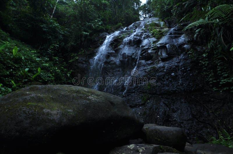在岩石的水流量直立的东西 库存照片