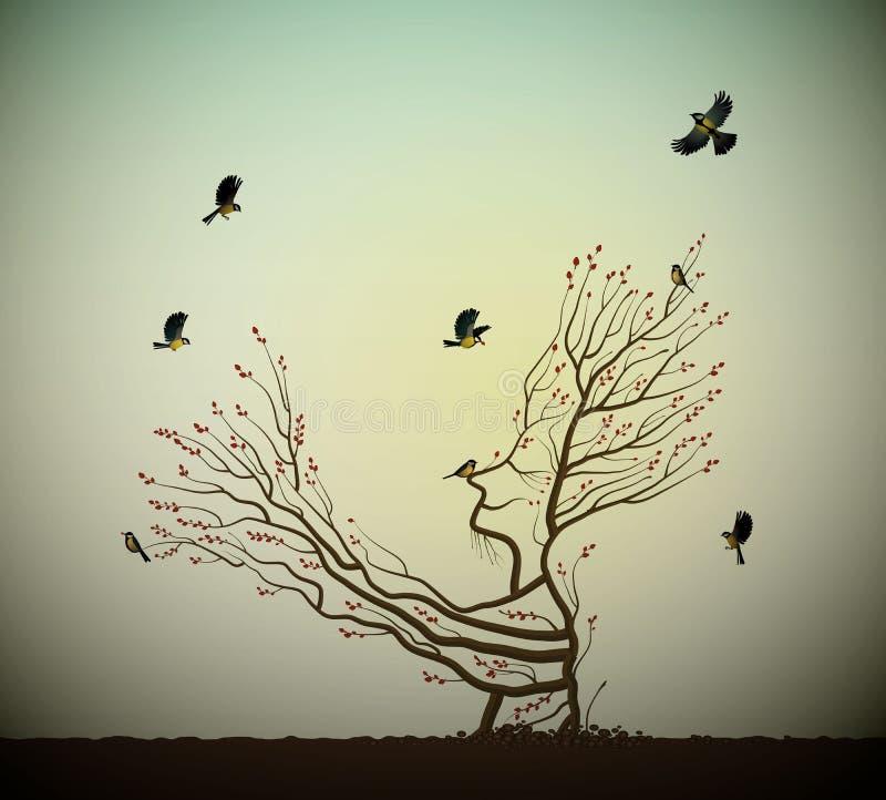在岩石的活树和titmouses鸟,树灵魂,象给他的手分支飞鸟,童话的树的人 向量例证