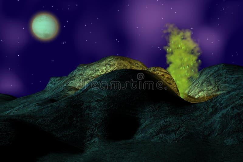 在岩石的烟 库存照片