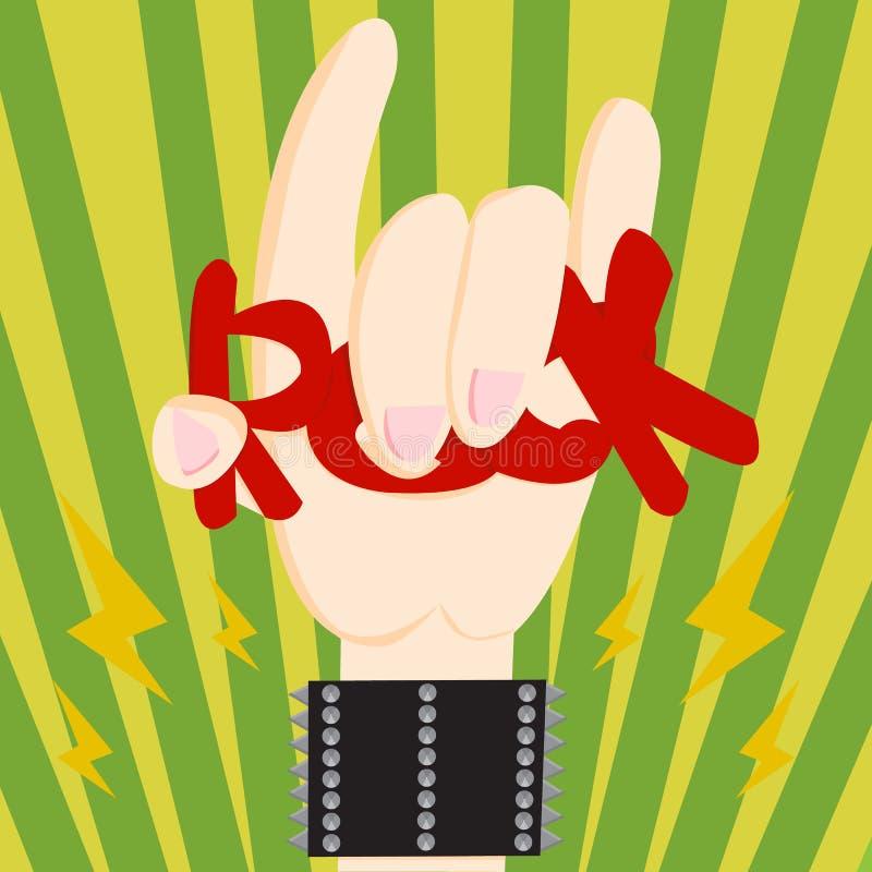 在岩石n卷标志的手 免版税图库摄影