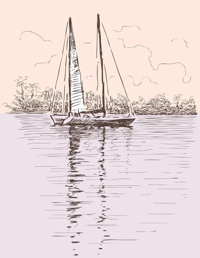 在岸的帆船 皇族释放例证