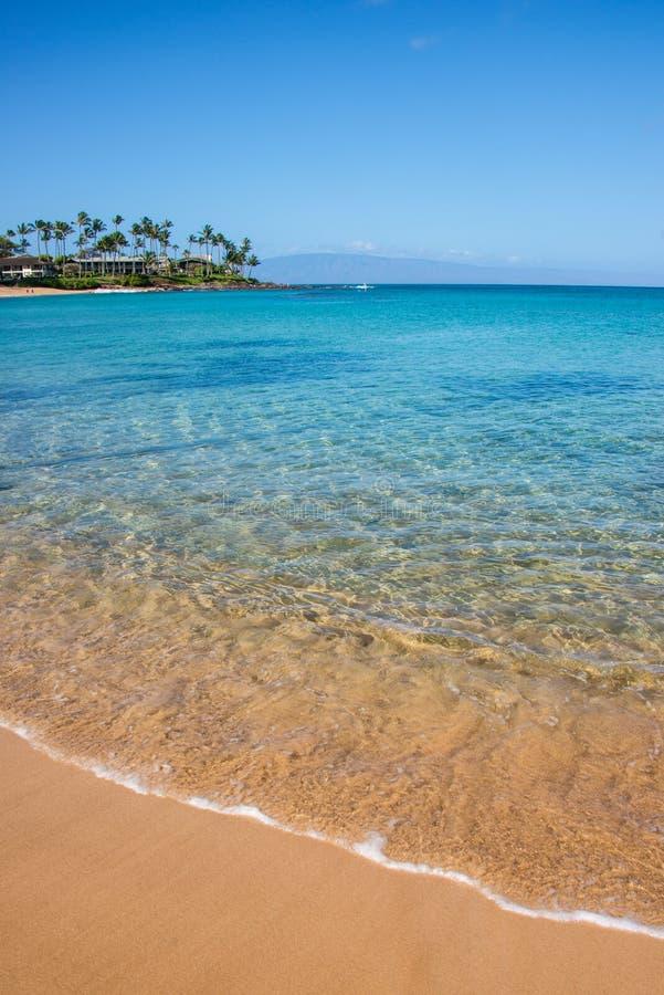 在岸的波浪在Napili海湾Lahaina毛伊夏威夷 库存照片