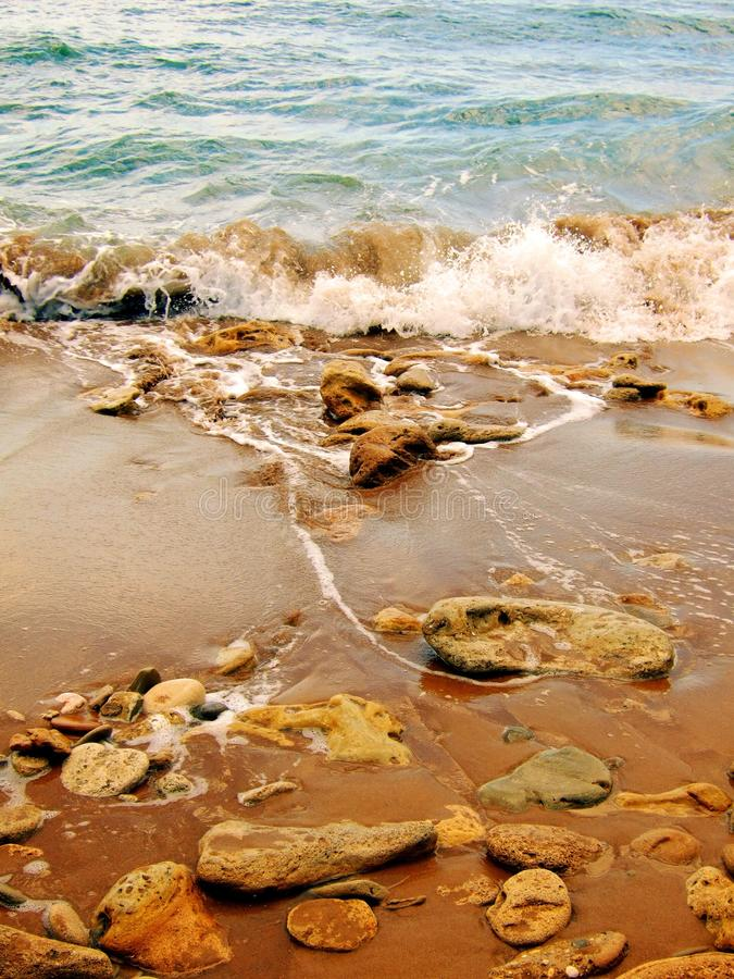 在岸的石头 免版税库存图片