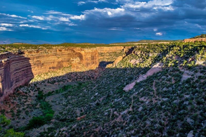 在峡谷峡谷的日落在大章克申,科罗拉多 免版税库存照片
