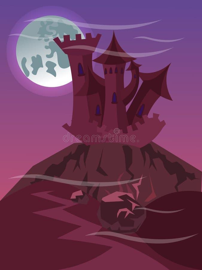 在峭壁平展传染媒介例证的美妙的城堡 向量例证
