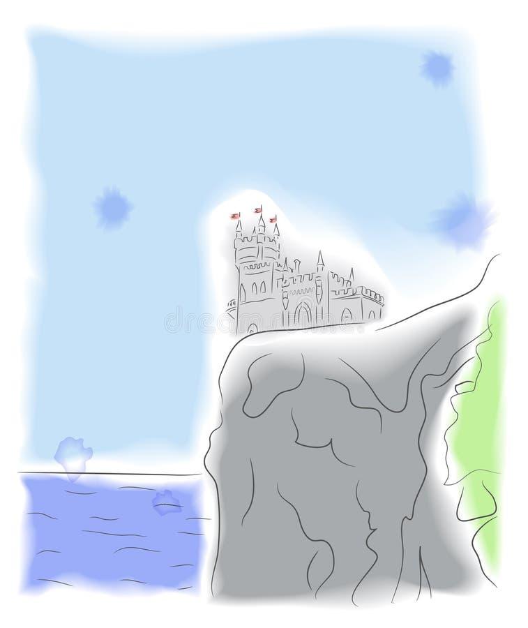 在峭壁的城堡由海运 皇族释放例证