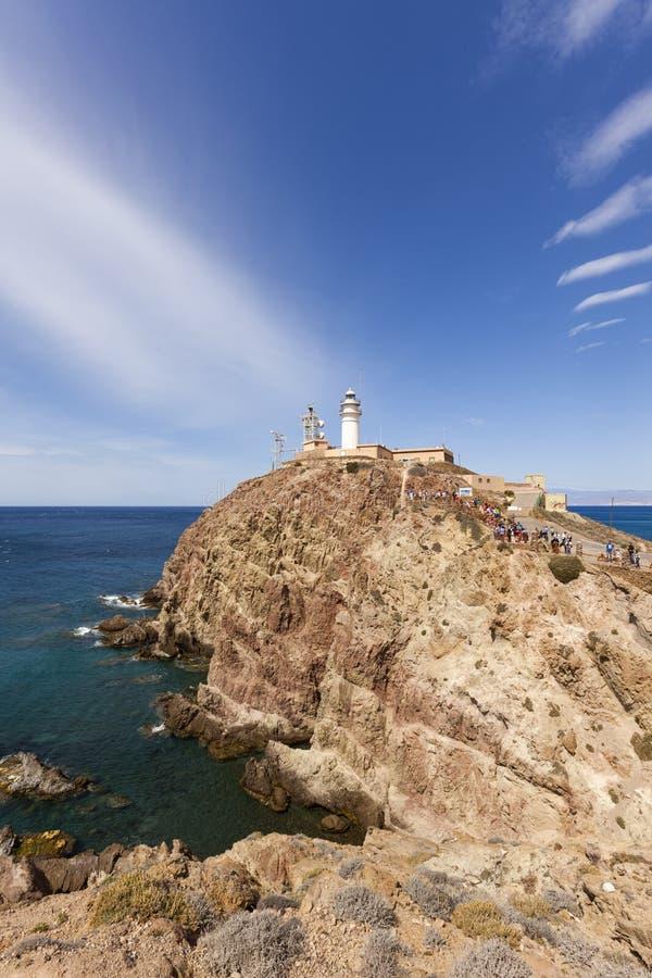 在峭壁的Cabo de加塔角灯塔 免版税库存照片