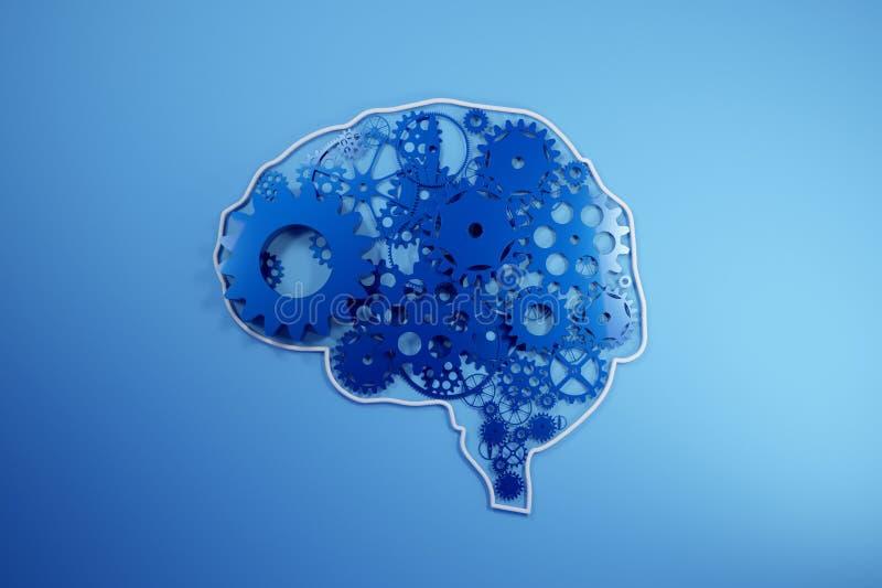 在嵌齿轮和齿轮外面的人脑修造 齿轮象形文字在头的 3d翻译, 皇族释放例证