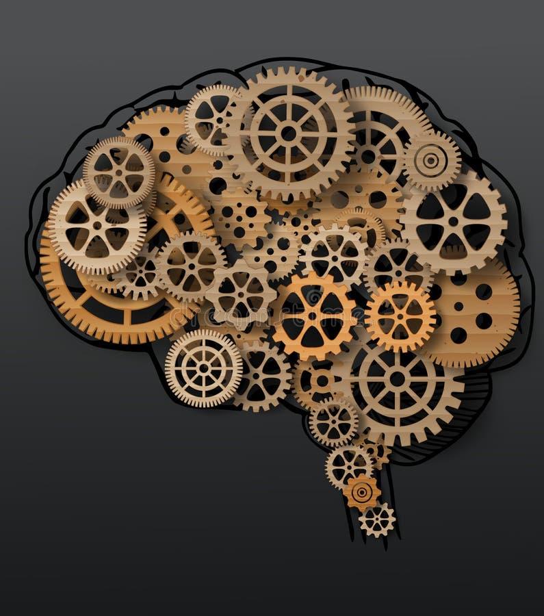 在嵌齿轮和齿轮外面的人脑修造 库存例证