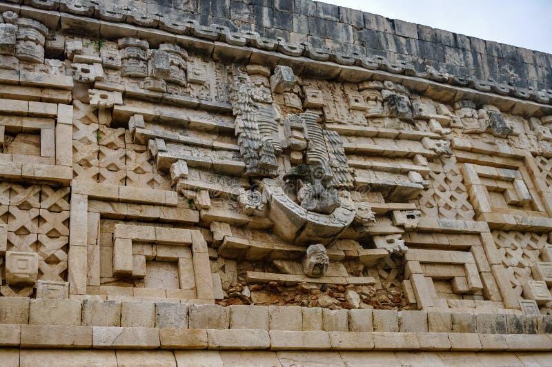 在州长宫殿的细节Ux古老玛雅废墟的  库存图片