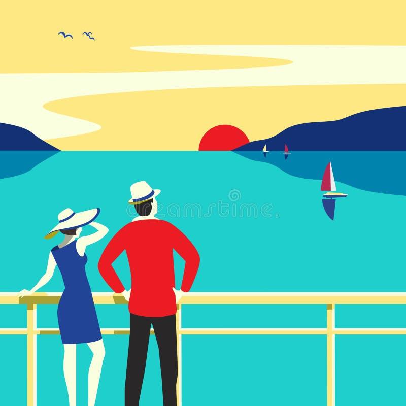 在巡航远洋班轮传染媒介海报的手拉的旅行 向量例证
