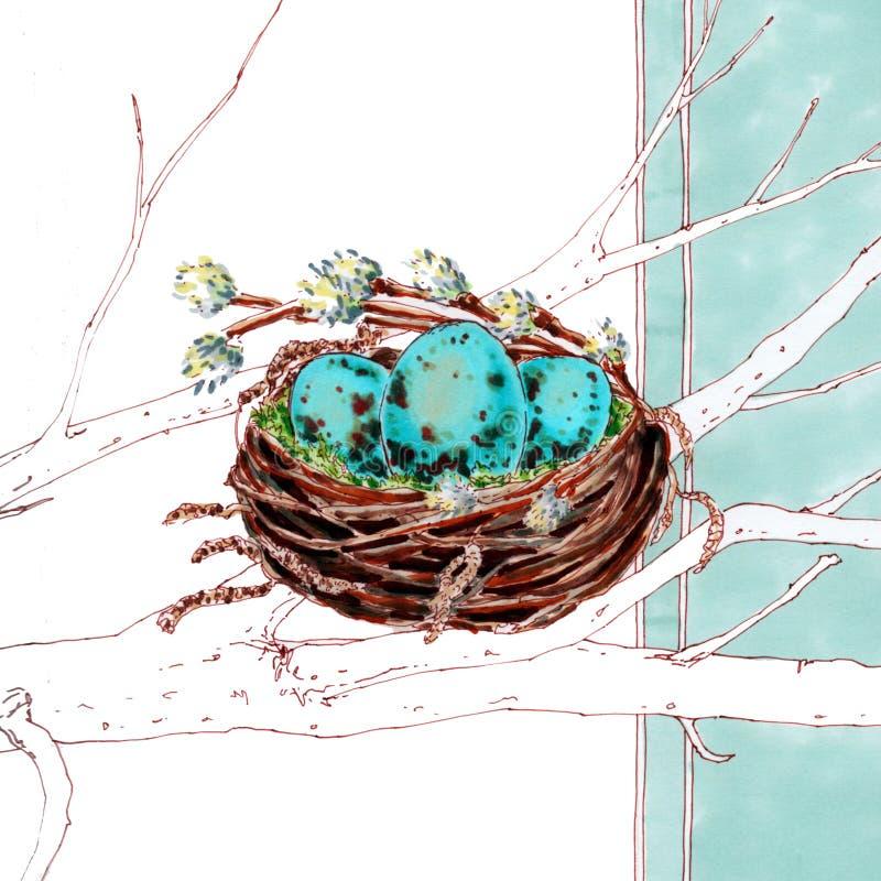 在巢的复活节彩蛋在蓝色背景 图库摄影