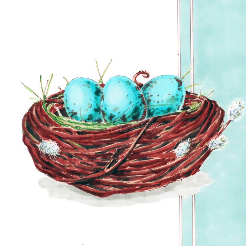 在巢的复活节彩蛋在蓝色背景 库存图片