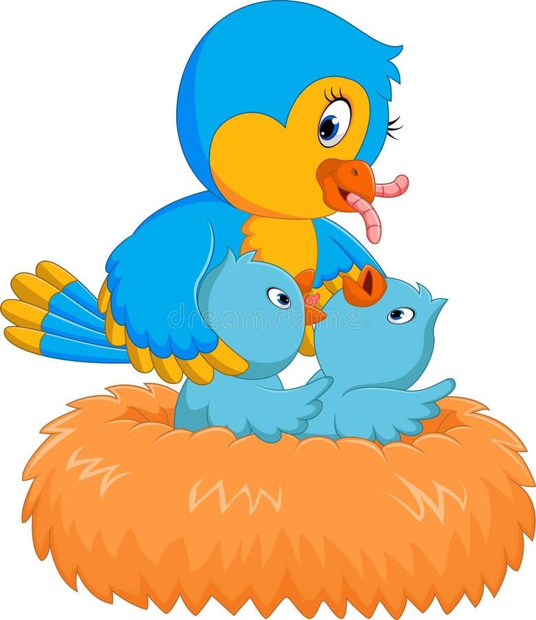 在巢的幼鸟 库存例证