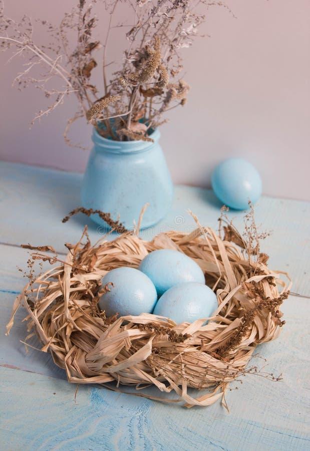 在巢的蓝色复活节彩蛋在木背景 免版税库存照片