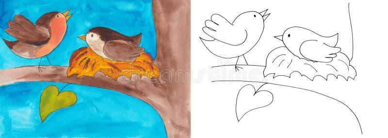 在巢的鸟 向量例证