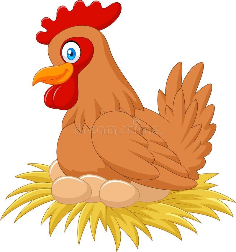 在巢的细想动画片的母鸡她的鸡蛋 库存例证