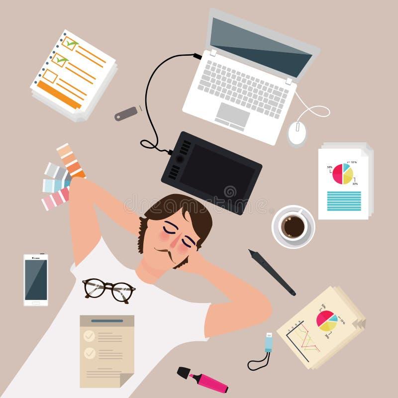 在工作在膝上型计算机附近以后,采取休息睡眠人男性设计师工作者享用 向量例证