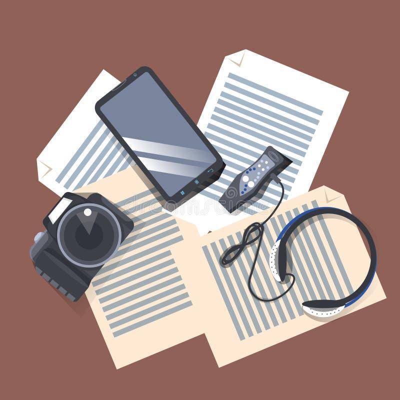 在工作场所油罐顶部角钢视图、现代照相机、音乐播放器有耳机的和巧妙的电话的小配件在纸张文件 库存例证
