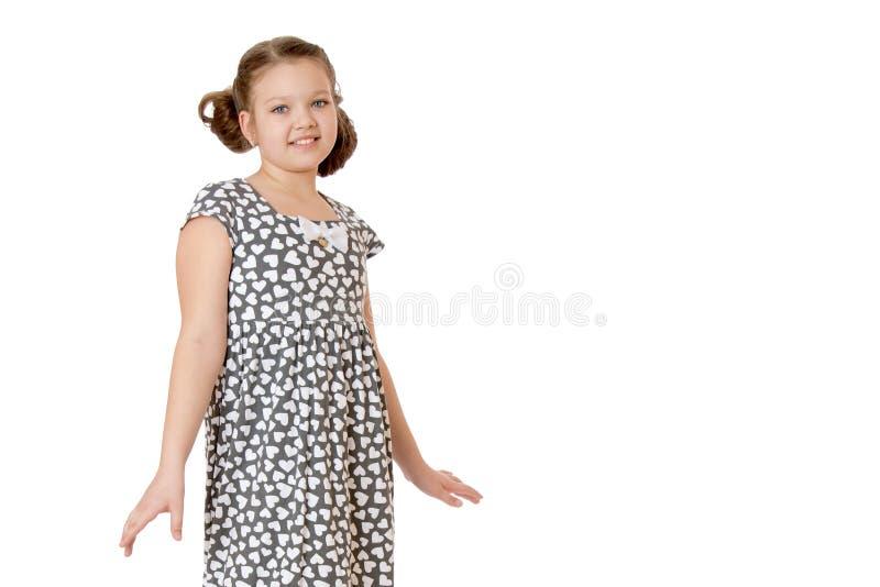 在工作室里摆姿势的小女孩 特写 库存照片