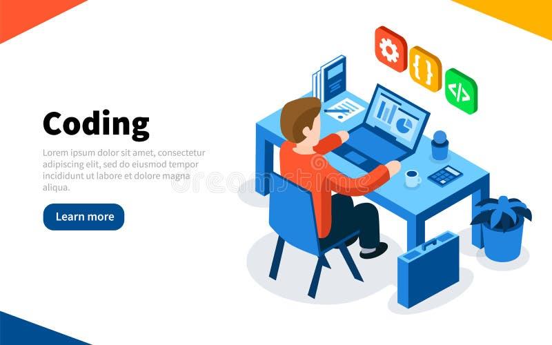 在工作概念的程序员 编码或在线编程教育 平的等量传染媒介例证 网页模板 向量 向量例证