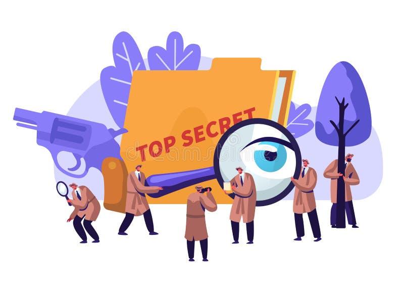 在工作调查和解决罪行的警探和私家侦探 帽子的最高机密的密探 向量例证