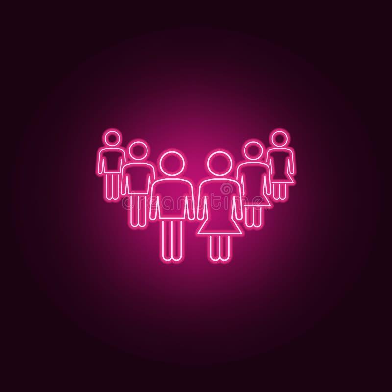 在工作霓虹象的男女平等 人集合的元素 r 皇族释放例证