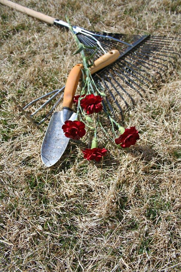 在工具的背景干燥庭院草 免版税库存照片