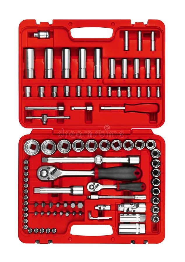 在工具箱的许多工具 库存图片