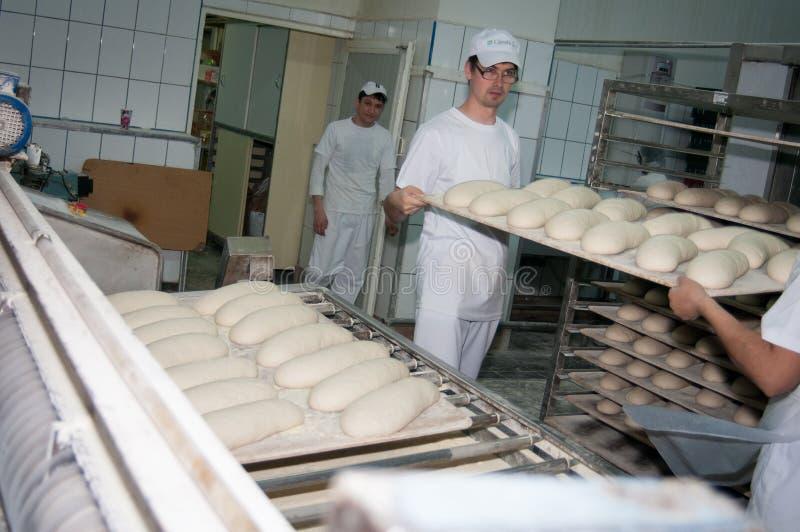 在工厂上添面包 库存图片