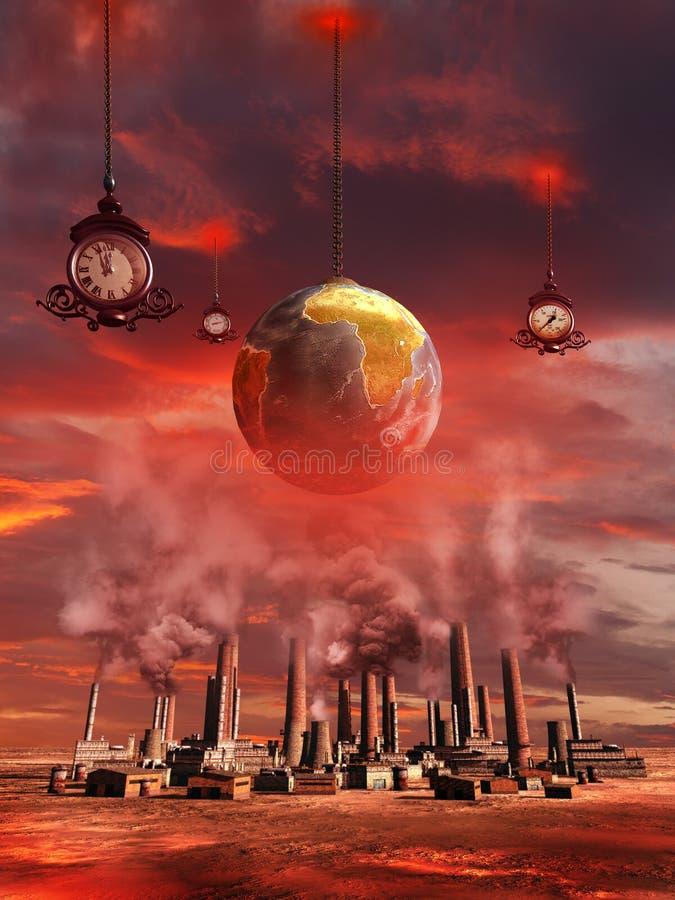 在工厂的地球地球 皇族释放例证