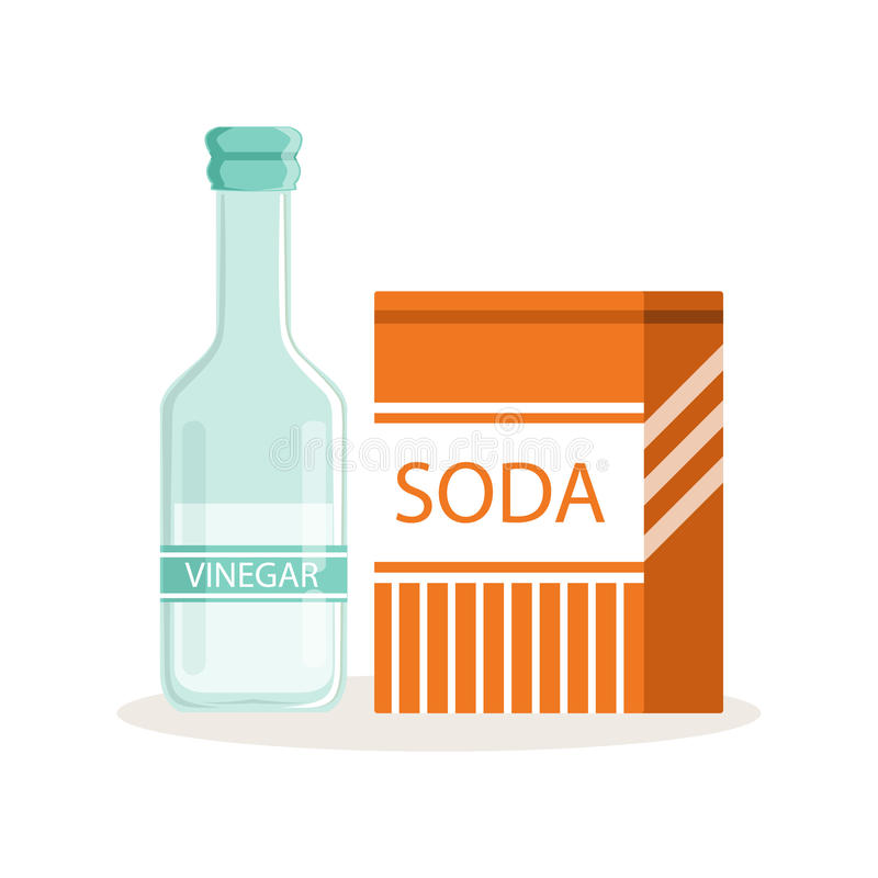 在工艺纸袋和玻璃瓶的苏打醋,烘烤的成份导航例证 向量例证