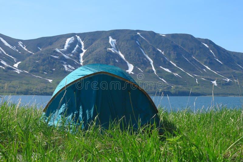 在左下角身分的蓝色帐篷在绿色领域背景中高山的许多美丽的曲线和 免版税库存照片