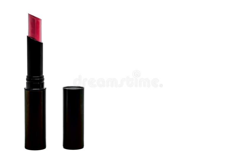 在左边界的红色唇膏与白色背景的拷贝空间 图库摄影