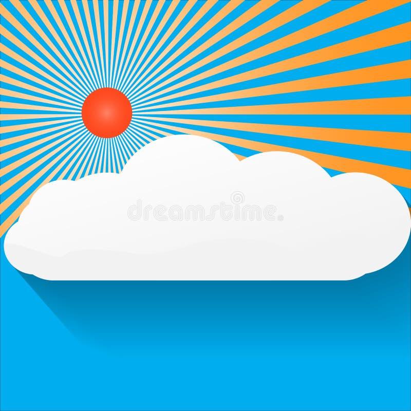 在左顶面角落的蓝天和阳光背景大明亮的旭日形首饰, 向量例证