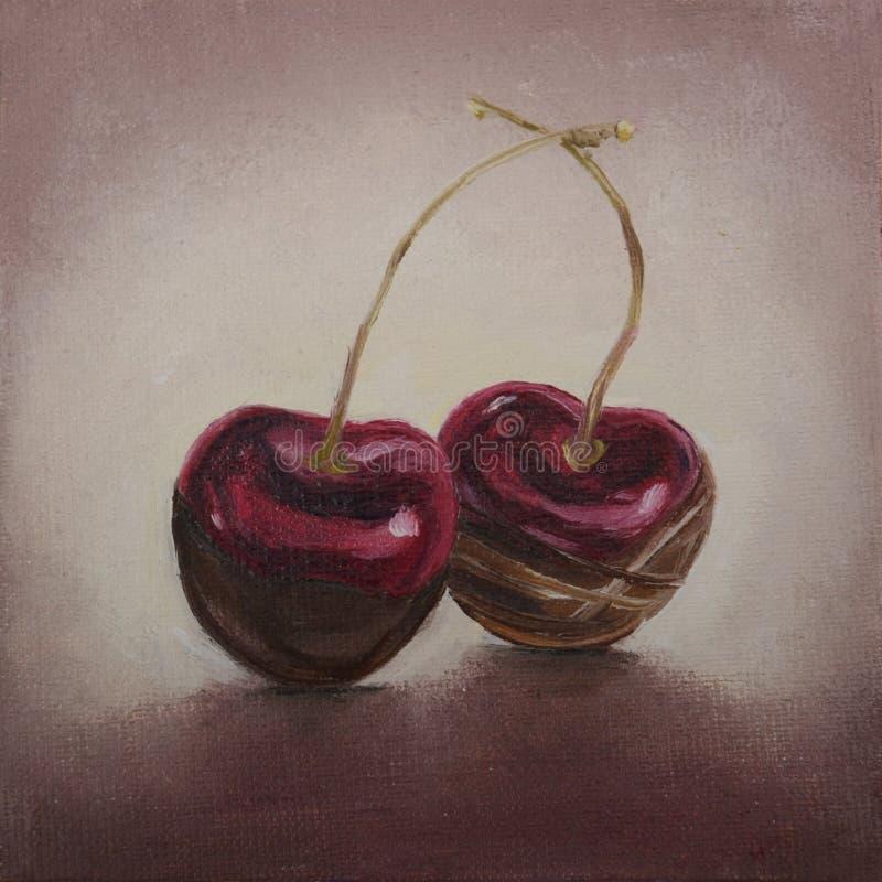 在巧克力的原始的绘画樱桃 免版税库存照片