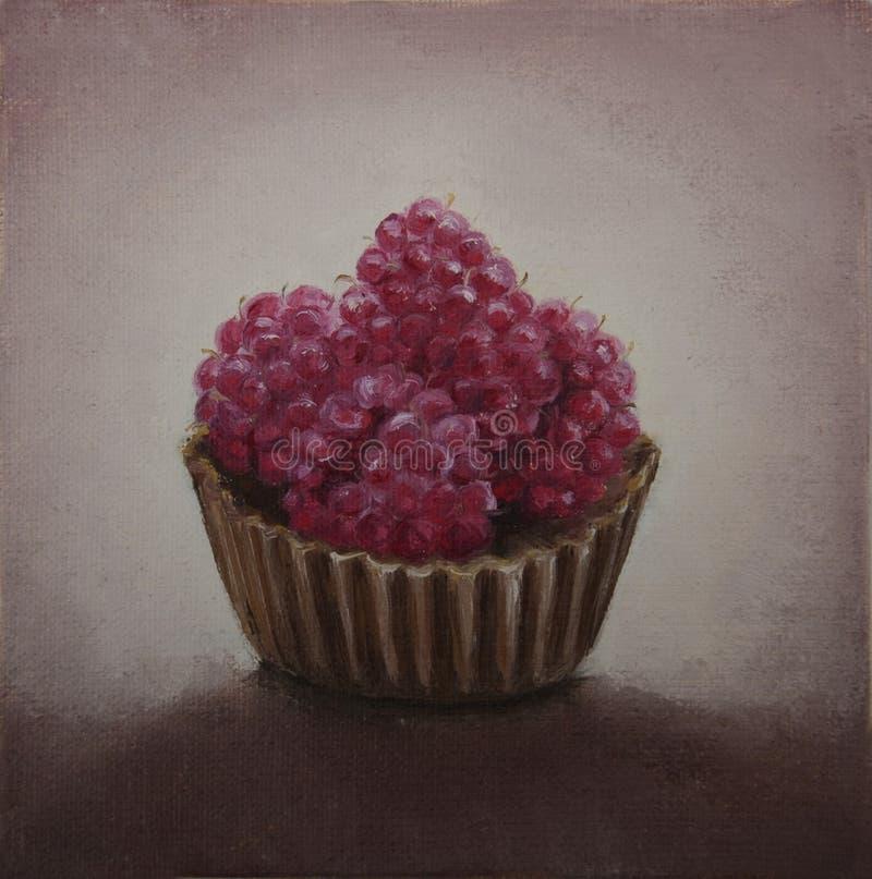 在巧克力的原始的绘画莓 免版税库存照片
