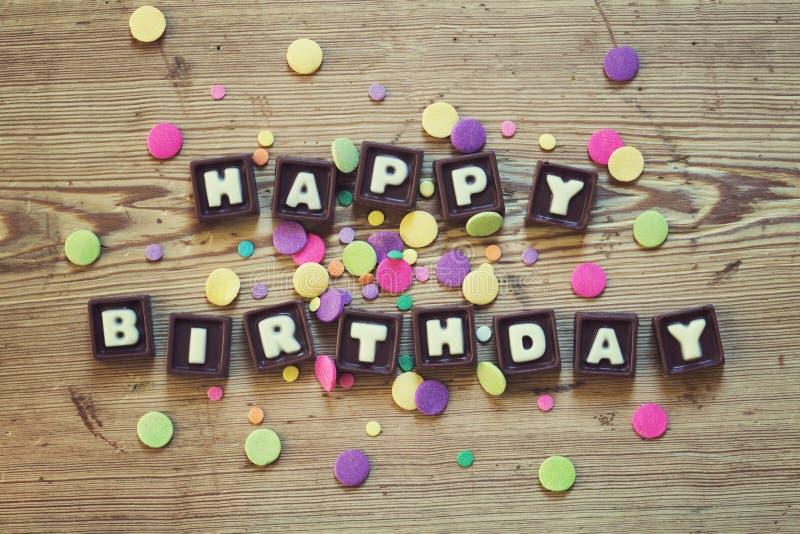 在巧克力的生日快乐 免版税库存照片