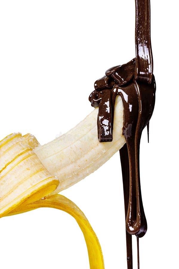 在巧克力的香蕉 免版税图库摄影