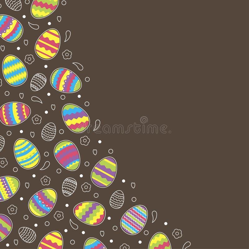 在巧克力背景的明亮的五颜六色的复活节彩蛋 向量例证