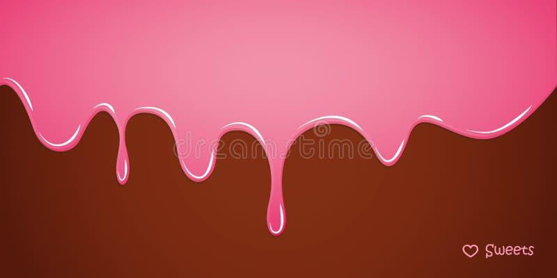 在巧克力背景的桃红色熔化的糖釉 皇族释放例证