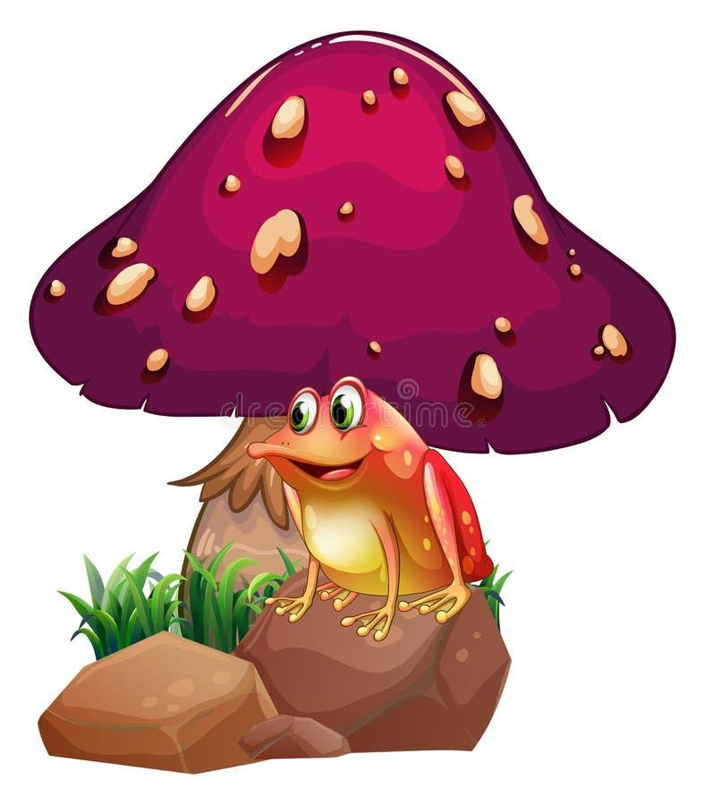 在巨型蘑菇下的一只青蛙 库存例证