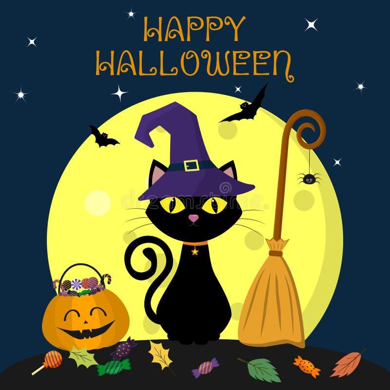 在巫婆帽子的一只万圣夜猫坐反对满月在晚上 在笤帚、南瓜与甜点和叶子,挥发性吸血鬼附近 库存例证