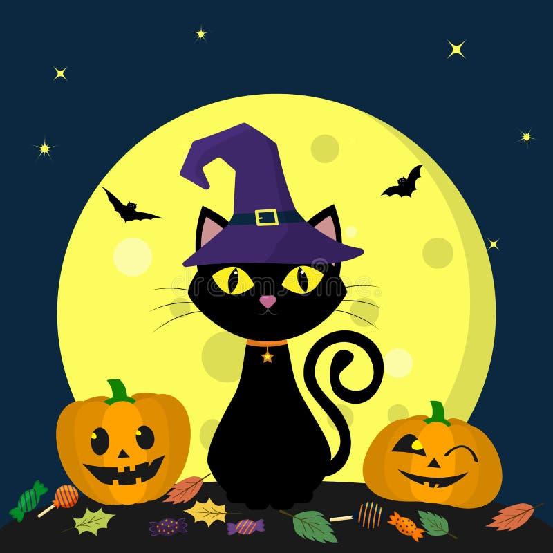 在巫婆帽子的一只万圣夜猫坐反对满月在晚上 在笤帚旁边是两片南瓜、糖果和叶子,挥发性v 库存例证