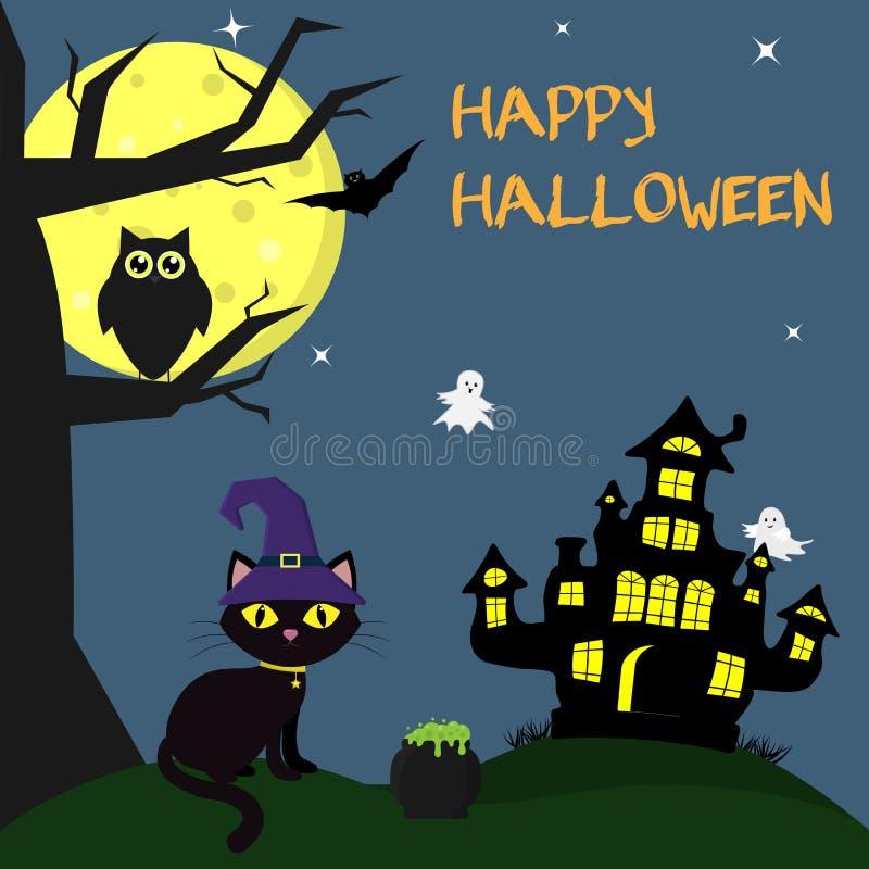 在巫婆s帽子的万圣夜猫在witchs房子旁边坐 下个罐魔药,树,猫头鹰,飞行的吸血鬼,星, g 皇族释放例证