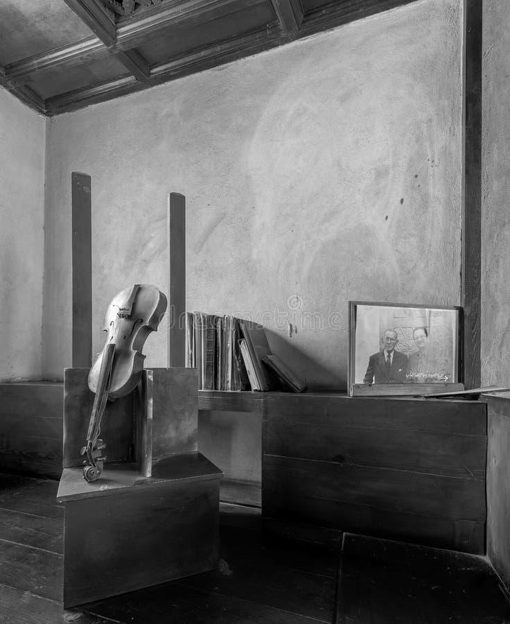 在已故的建筑师哈桑・法帝,埃及的最响誉的建筑师,开罗,埃及演播室的打破的小提琴和葡萄酒难看的东西书  免版税库存图片