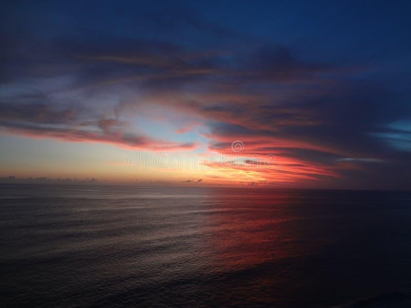 在巴厘岛印度尼西亚的日落 免版税图库摄影