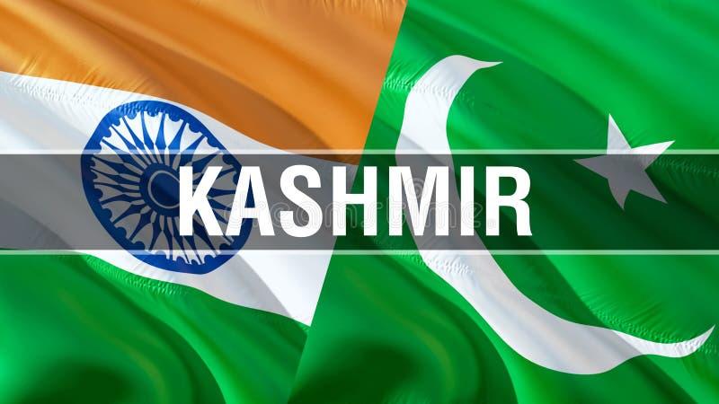 在巴基斯坦和印度旗子的冲突 挥动的旗子设计,3D翻译 巴基斯坦印度旗子图片,墙纸图象 克什米尔 免版税库存照片