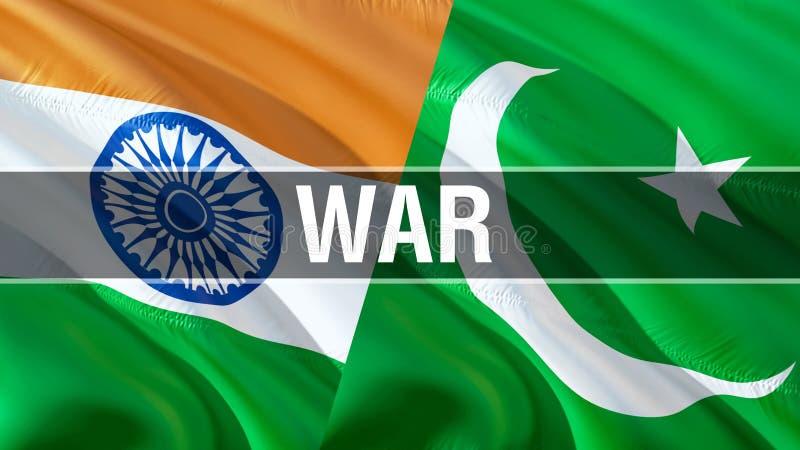 在巴基斯坦和印度旗子的战争 挥动的旗子设计,3D翻译 巴基斯坦印度旗子图片,墙纸图象 克什米尔印度人 免版税库存照片
